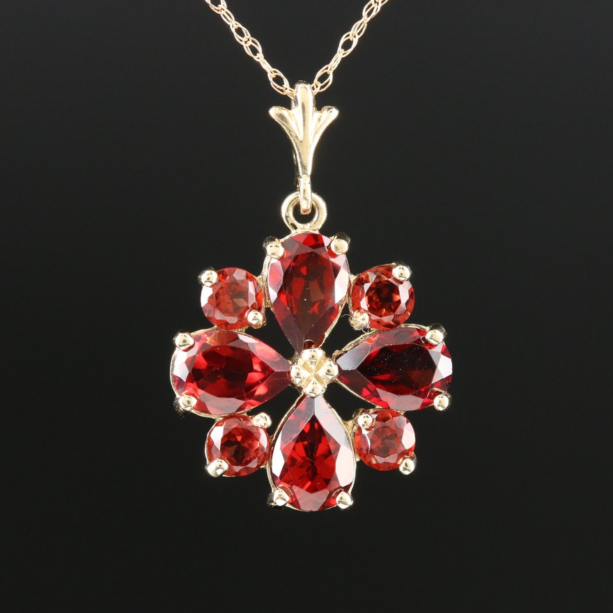14K Yellow Gold Garnet Pendant Necklace