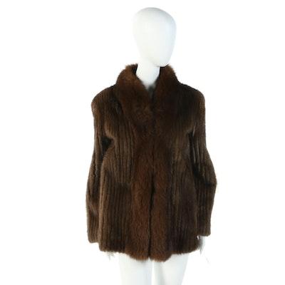 Corded Mink Fur Jacket with Fox Fur Collar