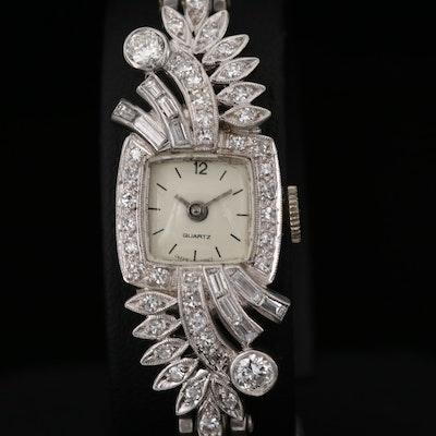 Platinum and 1.14 CTW Diamond Watch with 14K Gold Diamond Bracelet, Vintage