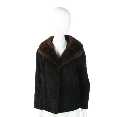 Black Broadtail Lamb Jacket with Mahogany Mink Fur Collar, Vintage