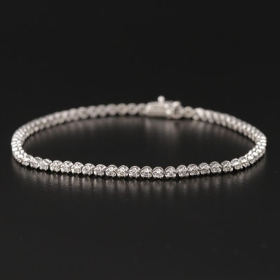14K White Gold 1.02 CTW Diamond Tennis Bracelet