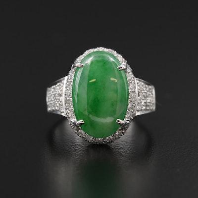 18K White Gold Jadeite and Diamond Ring