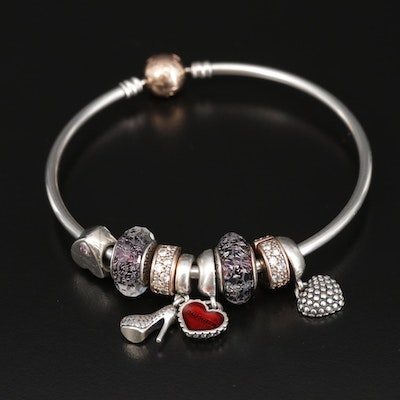 Pandora Sterling Silver Glass, Enamel, and Cubic Zirconia Bangle Charm Bracelet