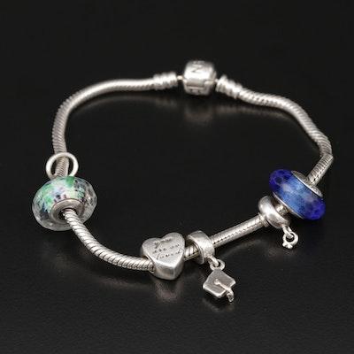 "Pandora ""Iconic"" Sterling Silver Glass Charm Bracelet"