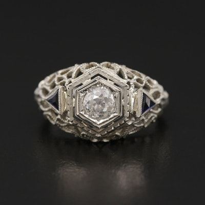 Vintage 18K White Gold Diamond and Blue Sapphire Openwork Ring