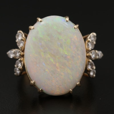 14K Opal Ring with Diamond Accented Shoulders