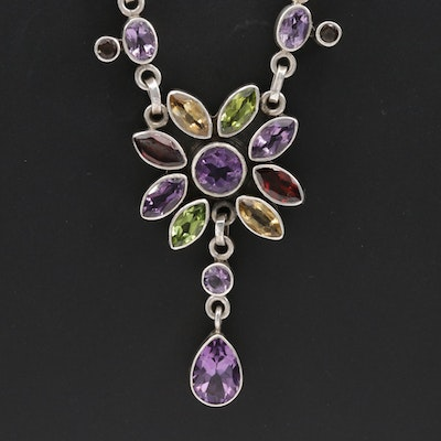Nicky Butler Sterling Silver Amethyst, Peridot, and Citrine Necklace