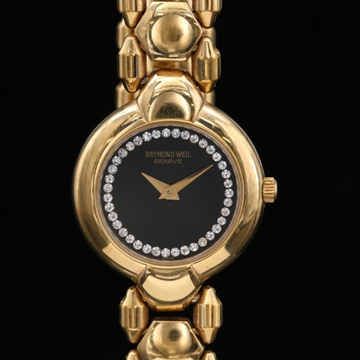 Raymond Weil Classic Gold Tone Quartz Wristwatch with Crystal Accents