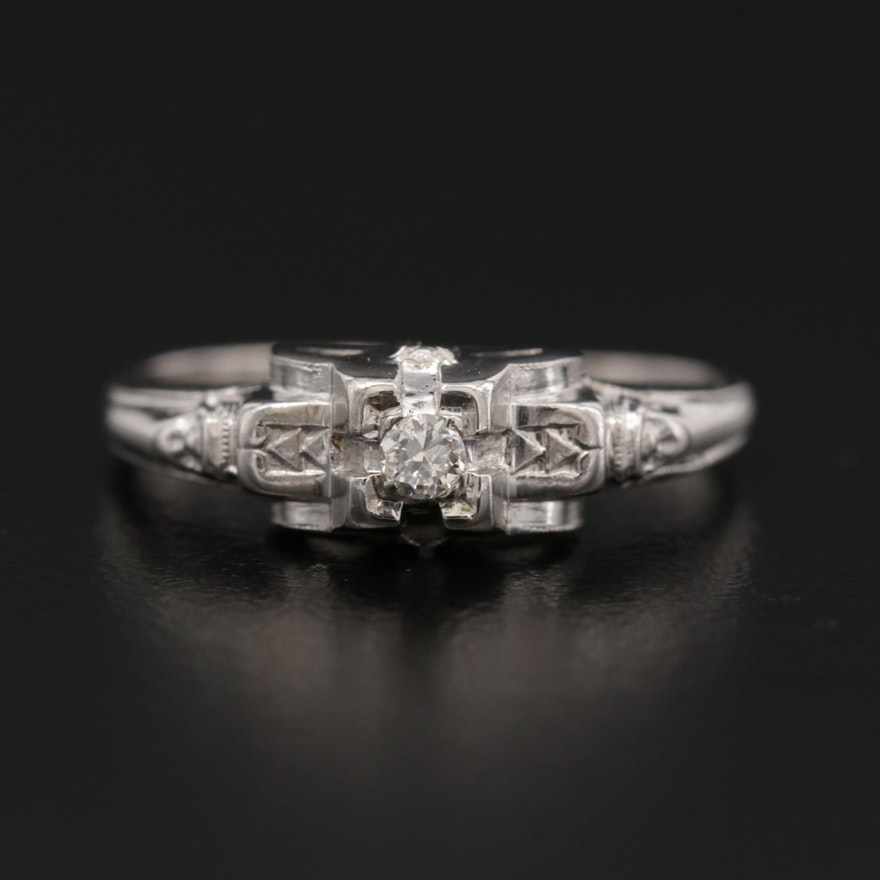 14K White Gold 0.04 CT Diamond Ring