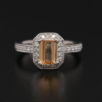 14K White Gold Citrine and Diamond Halo Ring