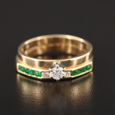 14K Yellow Gold Diamond and Emerald Ring and Band