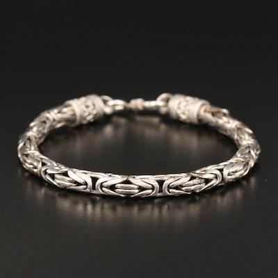 Sterling Silver Byzantine Link Bracelet