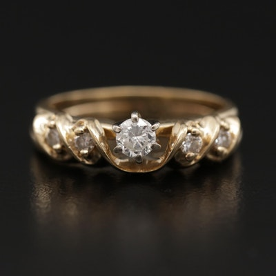 14K Yellow Gold Diamond Ring and Band