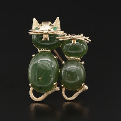 14K Yellow Gold Nephrite and Glass Cat Brooch