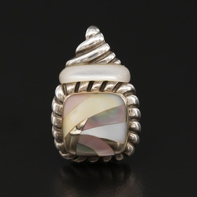 Asch Grossbardt Sterling Silver Mother of Pearl Pendant With 18K Gold Accent