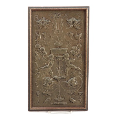 Baroque Style Copper Relief Armorial Panel, 20th Century