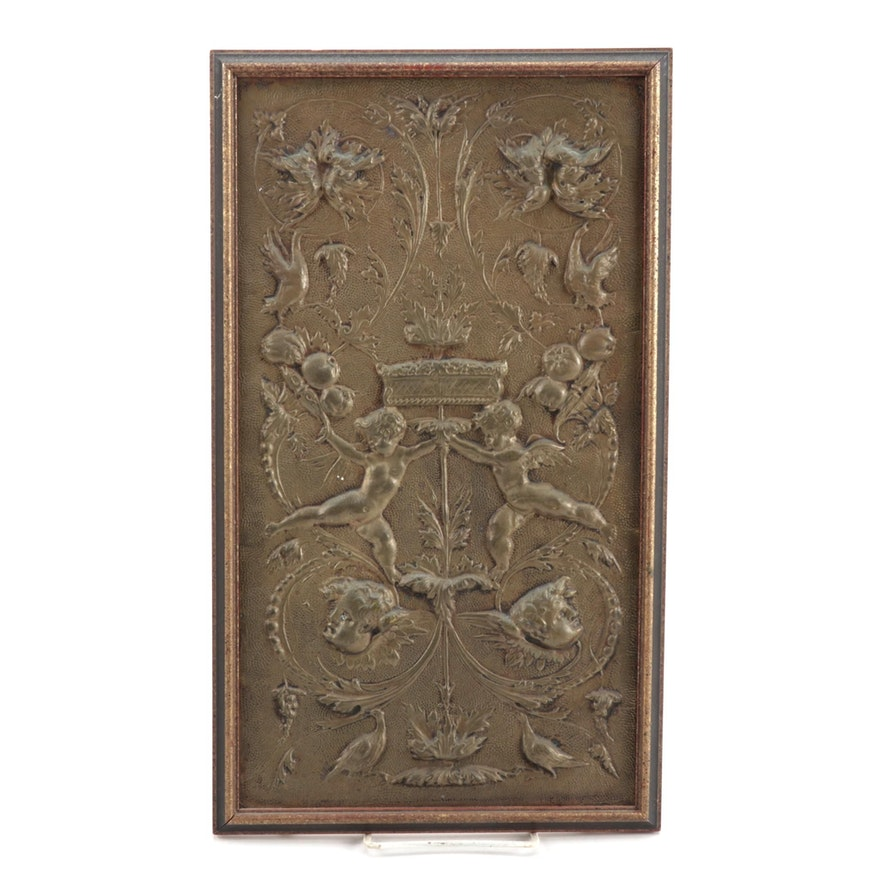 Baroque Style Copper Relief Armorial Panel, 20th Century