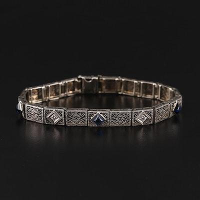 Art Deco 14K White Gold Sapphire and Diamond Bracelet