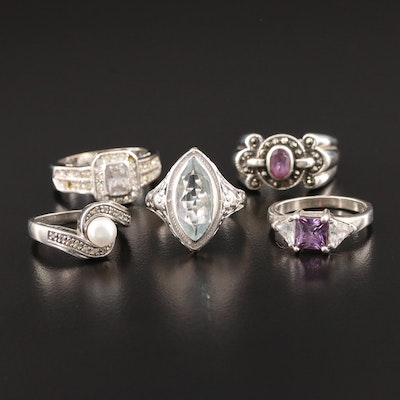Collection Rings including 14K White Gold Aquamarine Floral Ring