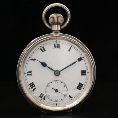 English Sterling Silver Open Face Pocket Watch, Circa 1910