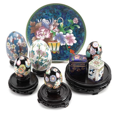 Chinoiserie Décor Including Plate, Eggs, and Lidded Trinket Boxes