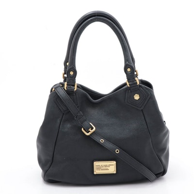 Marc by Marc Jacobs Classic Q Francesca Black Pebbled Calf Leather Bag