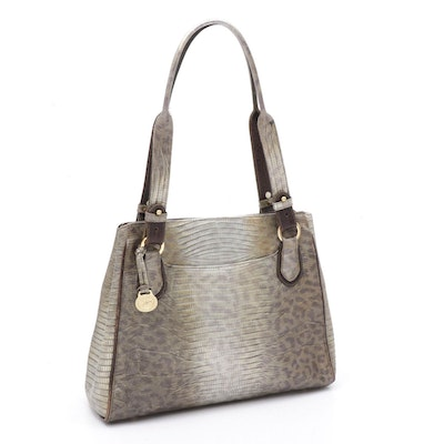 Brahmin Lizard Embossed Leather Shoulder Bag