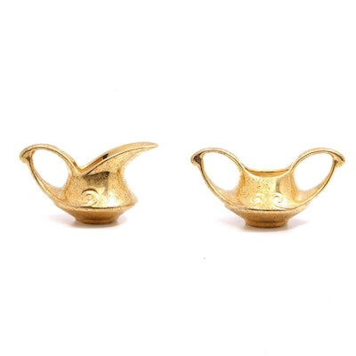 Pearl China Co. 22 KT Gold Decorated Porcelain Creamer and Sugar Bowl
