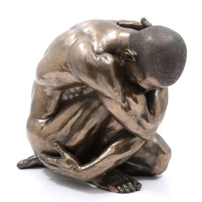 "Artisanti Keswick Male Nude Bronze Clad Resin Sculpture ""Clutching"""