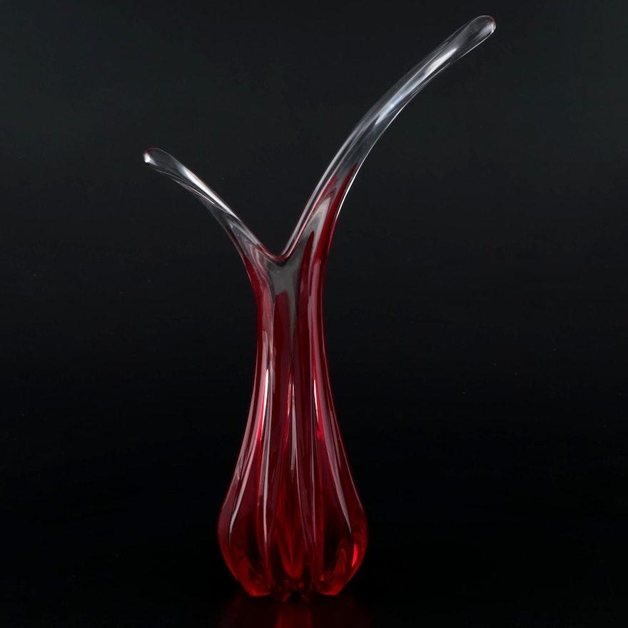 Murano Style Ruby Red Art Glass Vase