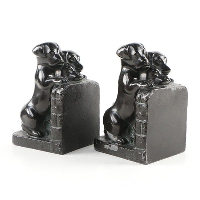 Cast Spelter Puppy Bookends
