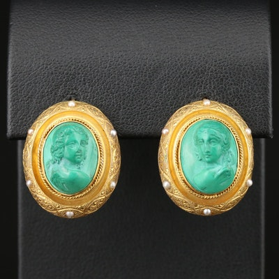 Vintage 18K Yellow Gold Malachite and Cultured Pearl Cameo Earrings