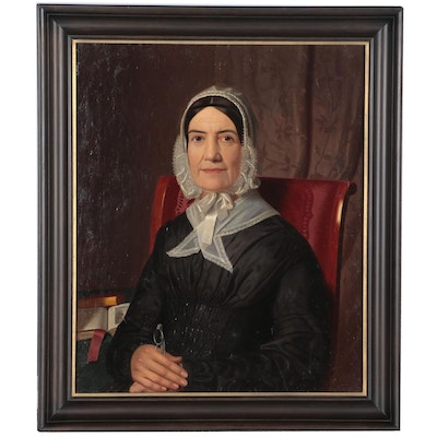 European School Portrait Oil Painting of a Woman, Mid 19th Century