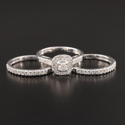 14K White Gold 0.79 CTW Diamond Ring Set