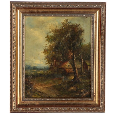 Pastoral Landscape Oil Painting, Early 20th Century
