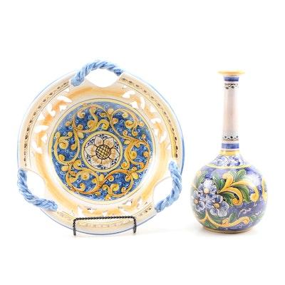 Sicilian L'artigianato di Dorotea Hand-Painted Pottery Vase and Bowl with Stand