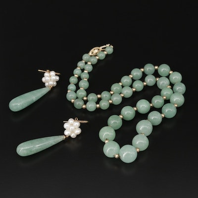 Jadeite Necklace and Earrings with 10K Gold Beads and Pearls