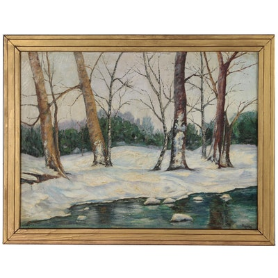 """Edward Rigele Oil Painting """"Along the Mamaroneck River"""", 1937"""