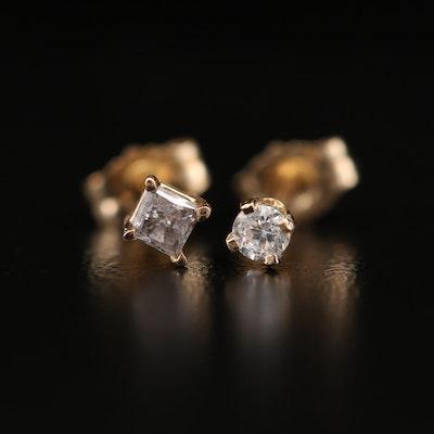 14K Yellow Gold Diamond and Cubic Zirconia Stud Earrings