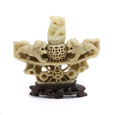 Chinese Carved Soapstone Censer with Guardian Lion Motif