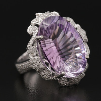 18K White Gold 19.35 CT Amethyst and Diamond Ring