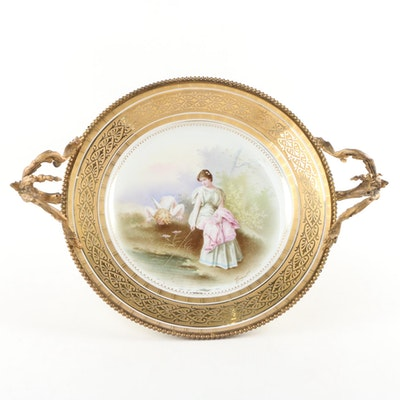 French Sèvres Style Porcelain Plate with Gilded-Metal Ormolu