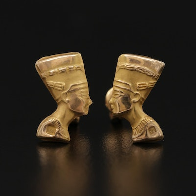 Egyptian 18K Yellow Gold Nefertiti Earrings