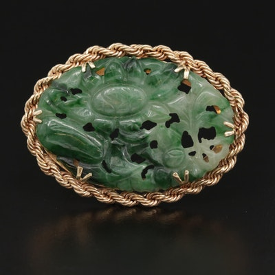 Vintage 14K Yellow Gold Carved Jadeite Brooch