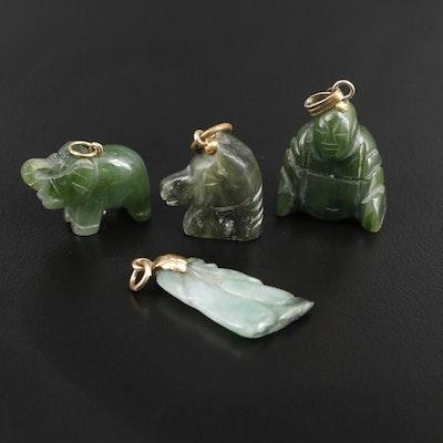 Nephrite Carved Buddha, Elephant and Horse including 10K Jadeite Pendants