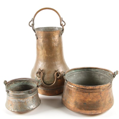 Hand-Wrought Copper Washed Metal Vessels