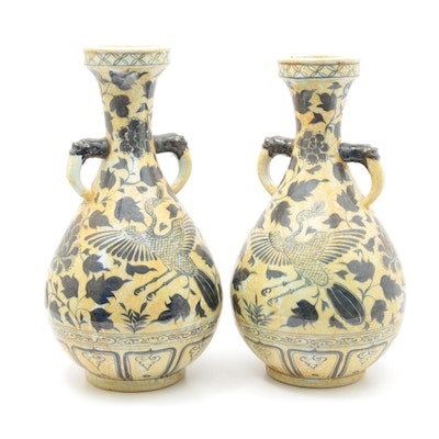 Chinese Double-Handled Fenghuang and Chrysanthemum Vases