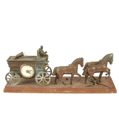 United Clock Co. Metal Conestoga Horse Drawn Wagon Mantel Clock Lamp