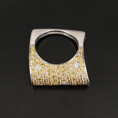18K White Gold Diamond and Fancy Sapphire Ring