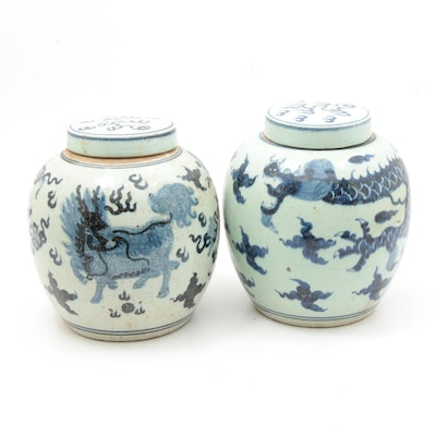 Chinese Hand-Painted Ginger Jars with Traditional and Qilin Dragon Motifs